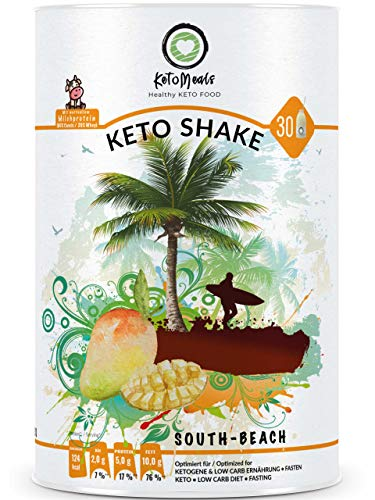 KetoMeals Keto Shake South-Beach (30 Portionen) mit Stevia • Ketogene Diät, Low Carb Ernährung, Fastenshake, Diet Drink, 450g Pulv